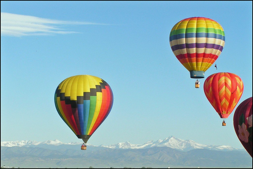 Four Balloons and Longs Peak Colorado