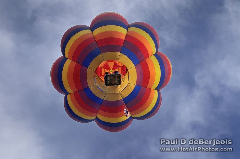 A view from beneath a rising hot air balloon