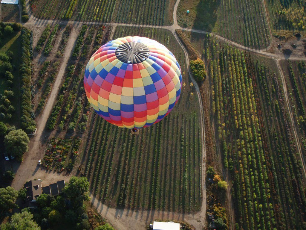 Hot air balloon ride over Colorado farm