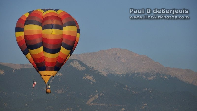 Hot Air Balloon with Longs Peak Colorado