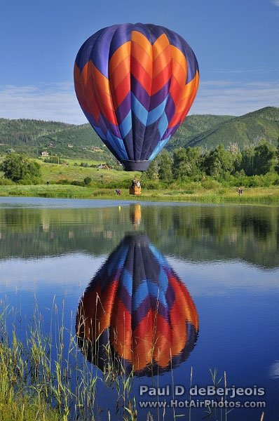 A Hot Air Balloon lake reflection