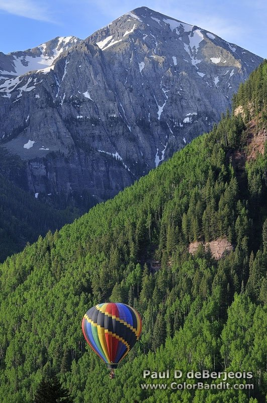 Hot Air Balloon with Mountain Peak in Telluride Colorado